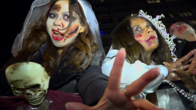 43rd annual greenwich village halloween parade via 6th avenue manhattan new york city usa - mask stock videos & royalty-free footage