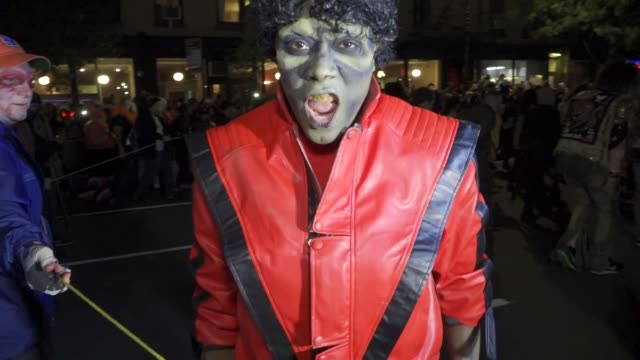 44th annual Greenwich Village Halloween Parade via 6th Avenue Manhattan New York City USA Note Dancing to Michael Jackson's Thriller song