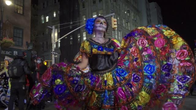 44th annual greenwich village halloween parade via 6th avenue, manhattan, new york city, usa. - parade stock videos & royalty-free footage