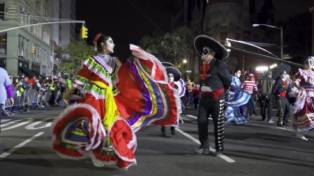 45th annual greenwich village halloween parade via 6th avenue, manhattan, new york city, usa. . - mexican culture stock videos & royalty-free footage