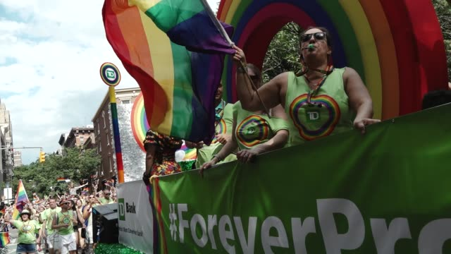 47th anniversary of the annual new york city gay pride march via 5th avenue and ending in the west village the nyc pride march is one of the largest... - the bank of new york stock videos and b-roll footage