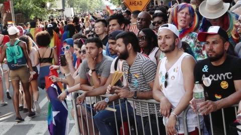 47th anniversary of the annual new york city gay pride march via 5th avenue and ending in the west village . the nyc pride march is one of the... - greenwich village stock videos & royalty-free footage