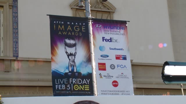 atmosphere signage 47th annual naacp image awards at pasadena civic auditorium on february 05 2016 in pasadena california - pasadena civic auditorium stock videos and b-roll footage