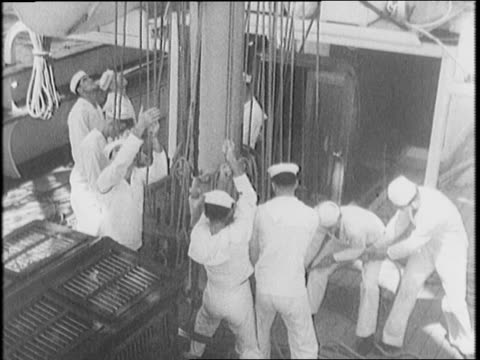 year-old old sailing ship, the joseph conrad, starting out / seamen climb ropes, hauling ropes on deck / cadets use flag semaphores / bow of ship /... - marinaio video stock e b–roll