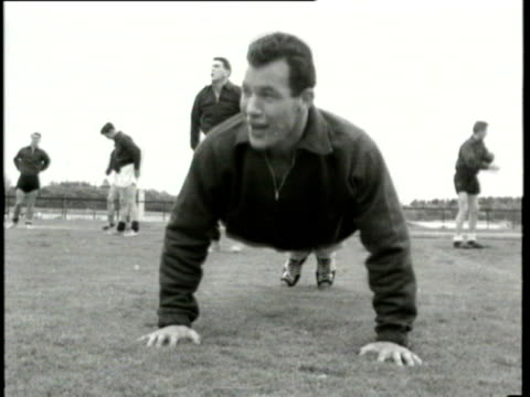 jun-1958 b/w montage wales and mexico teams in training in stockholm: players include jimmy murray, mel charles, jack kelsey of wales plus shots of... - 1958 stock videos & royalty-free footage