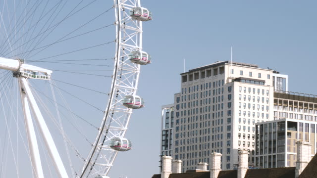 4k 10bit the london eye millennium wheel with copy space, london uk - passenger ship stock videos & royalty-free footage