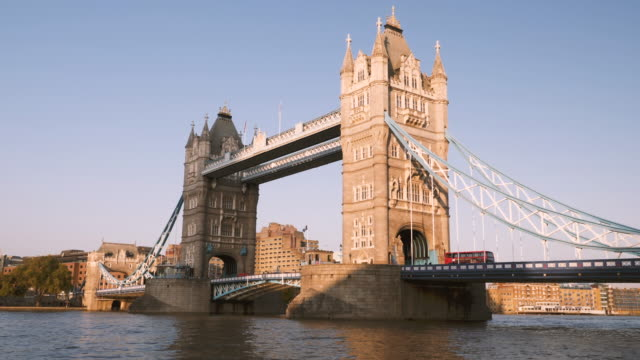 4k 10bit tower bridge and thames river at sunset, london - 2015 stock videos & royalty-free footage