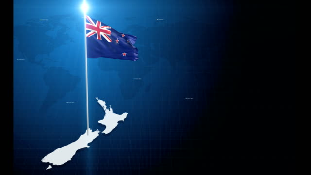 4k 3d flag with map + green screen background - new zealand stock videos & royalty-free footage