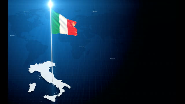 4k 3d flag with map + green screen background - italian flag stock videos and b-roll footage