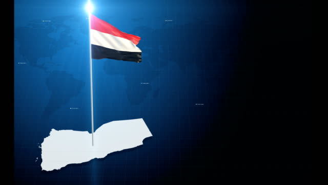4k 3d flag with map + green screen background - yemen stock videos & royalty-free footage
