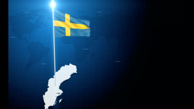 4k 3d flag with map + green screen background - swedish flag stock videos and b-roll footage