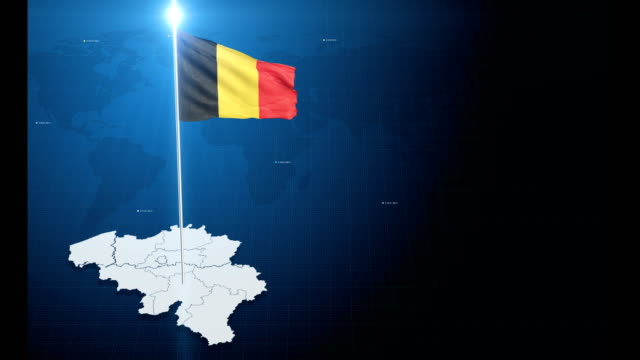 4k 3d flag with map + green screen background - belgium stock videos & royalty-free footage