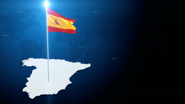 4k 3d flag with map + green screen background - spanish flag stock videos and b-roll footage