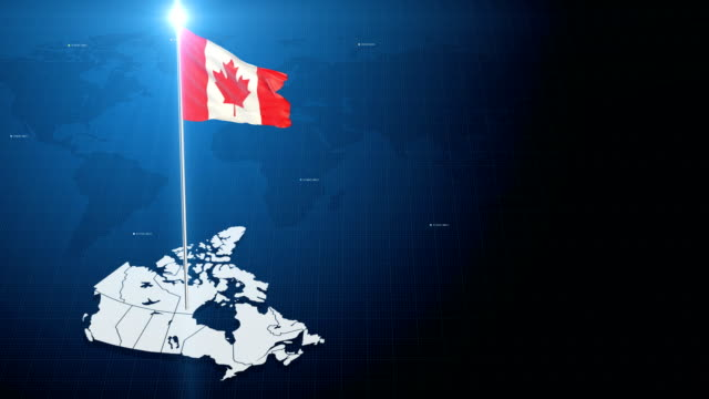 4k 3d flag with map + green screen background - bandiera del canada video stock e b–roll