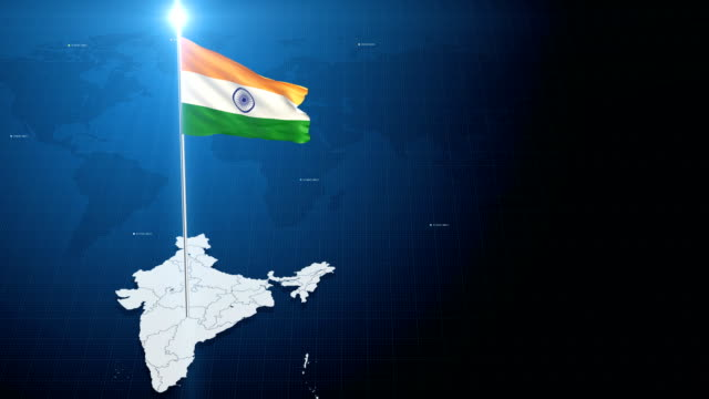4k 3d flag with map + green screen background - indian flag stock videos & royalty-free footage
