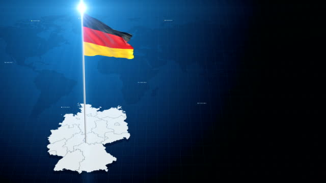 4k 3d flag with map + green screen background - german flag stock videos & royalty-free footage