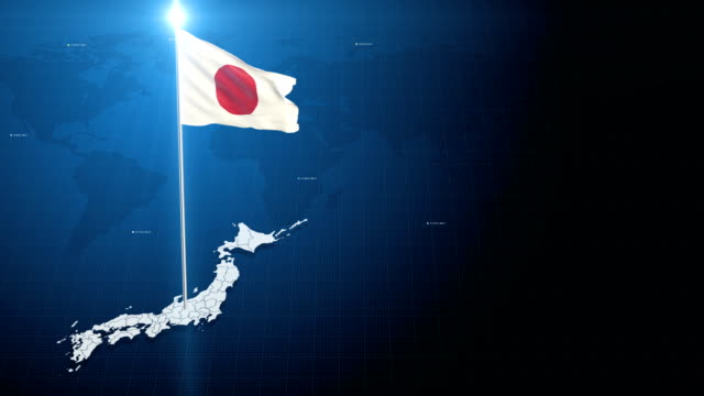 4k 3d flag with map + green screen background - japan flag stock videos & royalty-free footage