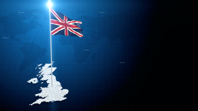 4k 3d flag with map + green screen background - england stock videos & royalty-free footage