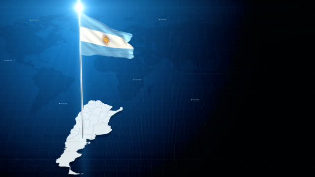 4k 3d flag with map + green screen background - bandiera dell'argentina video stock e b–roll