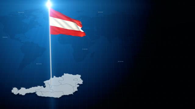 4k 3d fahne mit karte + green-screen-hintergrund - austria flag stock-videos und b-roll-filmmaterial