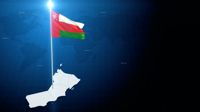 4k 3d flag with map + green screen background - oman flag stock videos and b-roll footage