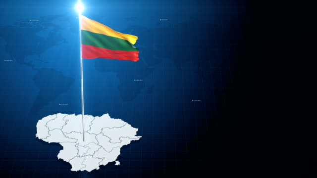 4k 3d flag with map + green screen background - lithuania stock videos & royalty-free footage