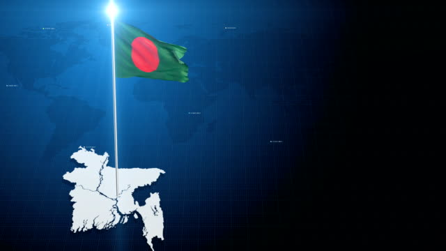 4k 3d flag with map + green screen background - flag of bangladesh stock videos & royalty-free footage