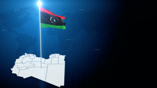 4k 3d flag with map + green screen background - libyan civil war stock videos & royalty-free footage