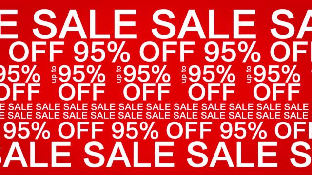 4 k : 95 percento di sconto su sfondo rosso animazione, Sfondo astratto di vendita
