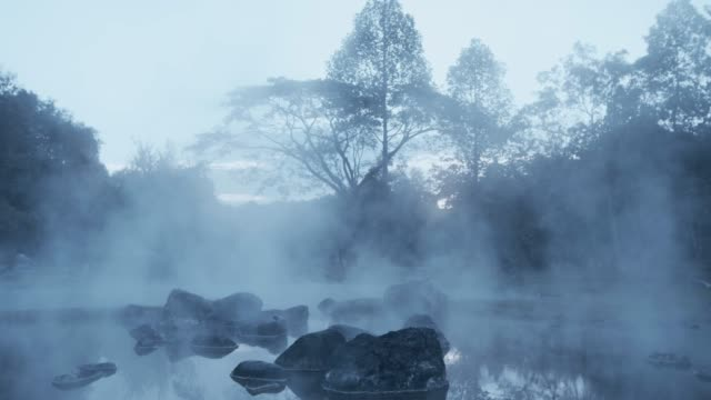 4k ,a pond of boiling hot spring water - hot spring stock videos & royalty-free footage