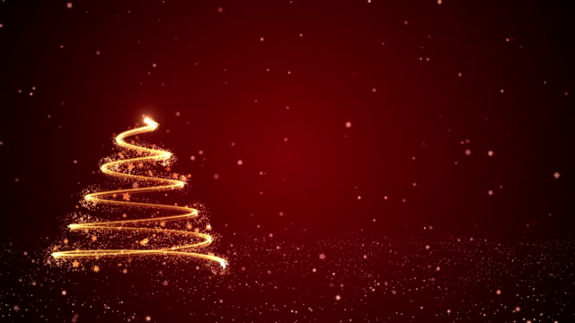 4k abstract christmas tree in red background - shiny stock videos & royalty-free footage