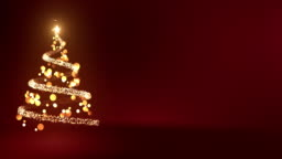 4k Abstract Christmas Tree With Copy Space (Red) - Loop