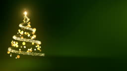 4k Abstract Christmas Tree With Copy Space (Green) - Loop