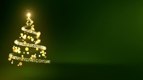 stockvideo's en b-roll-footage met 4k abstracte kerstboom met kopie ruimte (groen) - lus - kerstboom