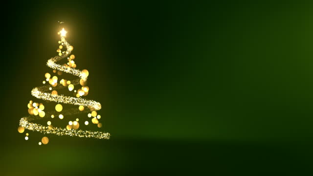 4k abstract christmas tree with copy space (green) - loop - christmas tree stock videos & royalty-free footage