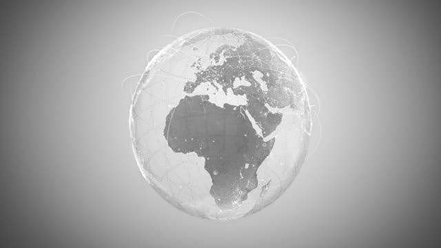 vídeos de stock e filmes b-roll de 4k abstract globe with connection lines (silver colored) - loopable after six seconds - cor prateada
