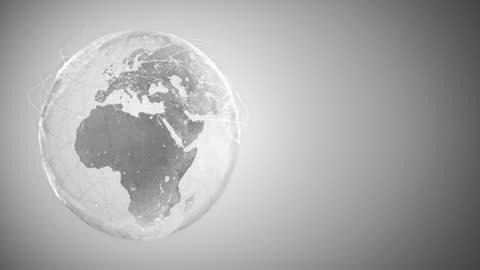 stockvideo's en b-roll-footage met 4k abstract globe met verbindingslijnen (met kopieerruimte, zilverkleurig)-loopable na zes seconden - globaal