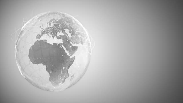 4k abstract globe with connection lines (with copy space, silver colored)-loopable after six seconds - internationale geschäftswelt stock-videos und b-roll-filmmaterial