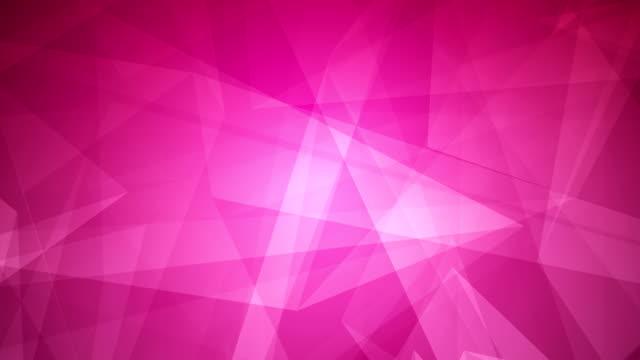 vídeos de stock, filmes e b-roll de 4k abstrato brilhante futurista, rede, tecnologia, ciência, celebração geométricas rosa - fundo loopable roxo com triângulos - articulação facetária