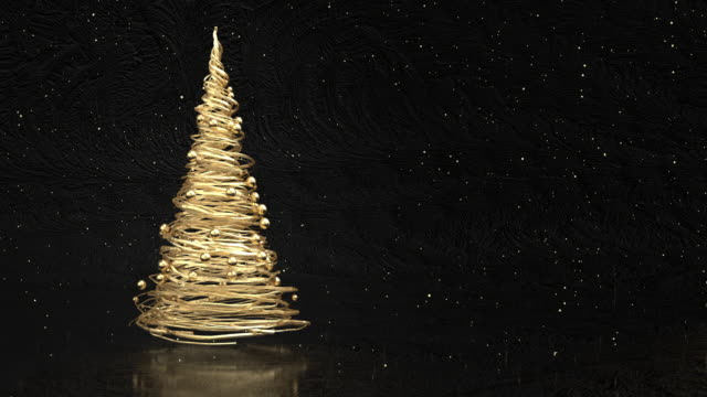 4k abstract gold christmas tree - greeting card stock videos & royalty-free footage