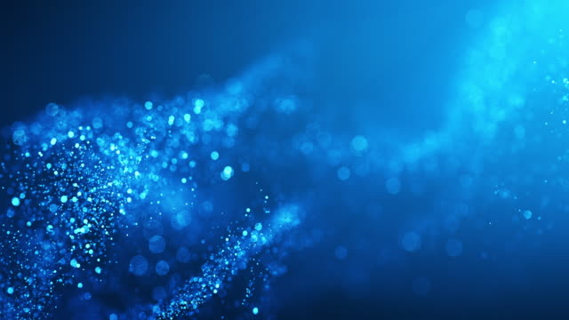 vídeos de stock e filmes b-roll de 4k abstract particle wave bokeh background - blue, water, snow - beautiful glitter loop - fluir