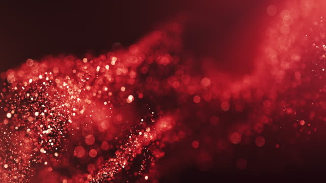 vidéos et rushes de 4k abstract particle wave bokeh fond - rouge, glamour, amour - beautiful glitter loop - rouge