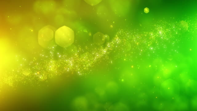 4k abstract particles (yellow, green) - background animation - loopable - green color stock videos & royalty-free footage