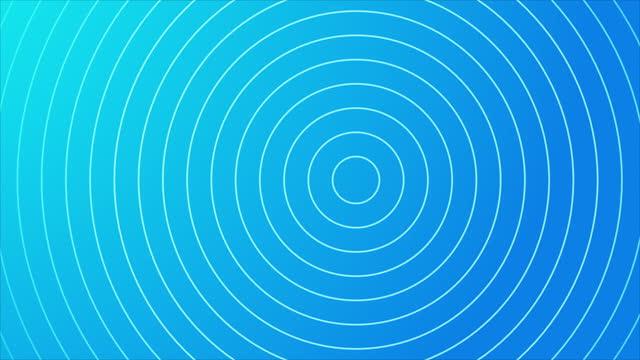 vidéos et rushes de fond bleu abstrait de cercle d'onde de 4k - hypnose