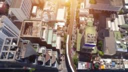 4k Aerial city view of Bangkok downtown, Flying over Bangkok, Thailand.