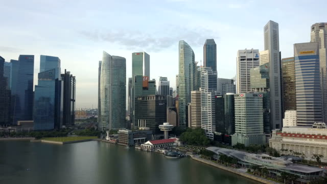4k Aerial financial district buildings marina bay, singapore