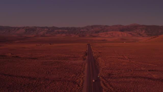 4k Aerial of a Deserted Desert Road