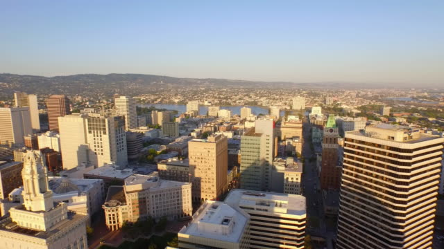 4k aerial of downtown oakland california, over buildings. - oakland california stock videos & royalty-free footage