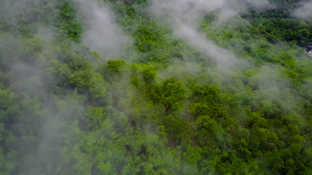 4k Aerial Shot of Fog rolls across flowing over mountains at Ratchaburi Province, Thailand.