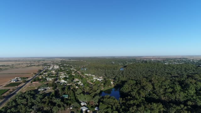 4k aerial shot of small country town